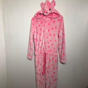 Girls Pink Pig One Piece Pyjamas. Size 14/16